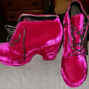Asos magenta platform boots size 9